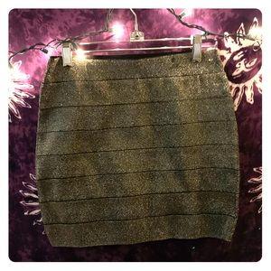 Forever 21 Gold Stretchy Mini Skirt